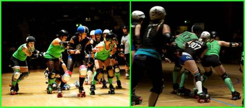 Left: Skoot and Fox hold the Santa Cruz jammer while Secret Servix whips off of The Beast. Right: Smack Dahlia and Beth Sentence wall up to contain the Santa Cruz blockers. Photos: Jim Cottingham