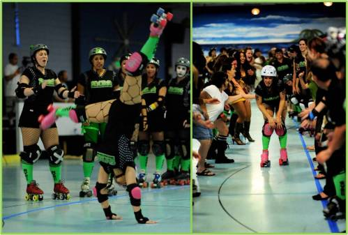Juicy K. Tore celebrated her birthday bout by cartwheeling out onto the track and enjoying an extra long birthday spank alley at half time.