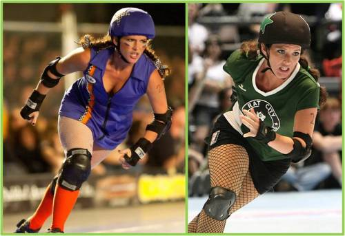 Pia skated with the Sockit Wenches and the Rat City All-Stars. Left, as a Sockit Wench (photo credit: Michael Coyote); right, as an All-Star (photo-credit: Joe Schwartz).